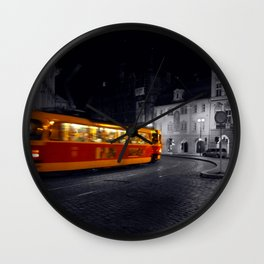 Tram at Night - Colour Composite  Wall Clock