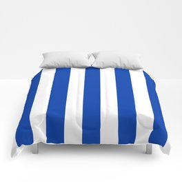 Royal azure - solid color - white vertical lines pattern Comforters