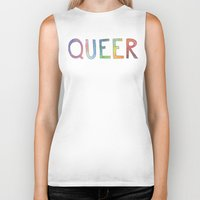 queer Biker Tanks featuring queer rainbows by ElenaM