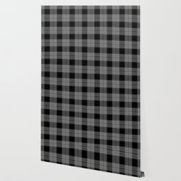 Black & Gray Plaid Print Wallpaper