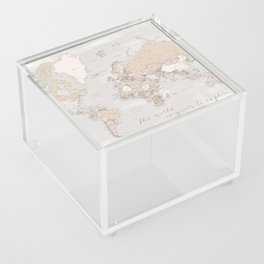 """The world is yours to explore, rustic world map with cities, """"Lucille"""" Acrylic Box"""