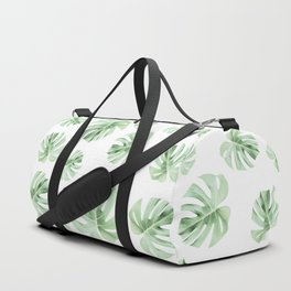 Tropical green leaves on white Duffle Bag