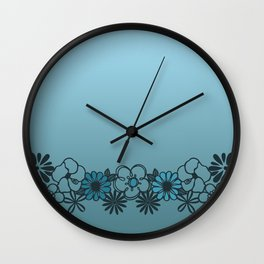 Kitschy Flower Medley Turquoise Wall Clock