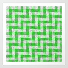 Lime Green Buffalo Plaid Art Print