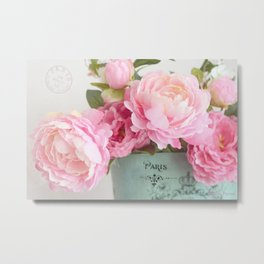 Paris Pink Peonies Bouquet Metal Print