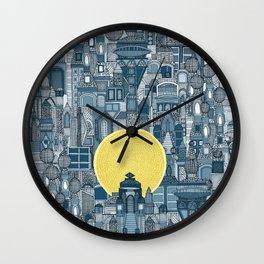 space city sun blue Wall Clock