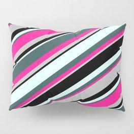 Colorful Light Cyan, Dark Slate Gray, Deep Pink, Grey & Black Colored Lines/Stripes Pattern Pillow Sham