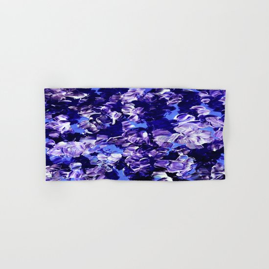 FLORAL FANTASY 2 Bold  Blue Lavender Purple Abstract Flowers Acrylic Textural Painting Garden Art Hand & Bath Towel