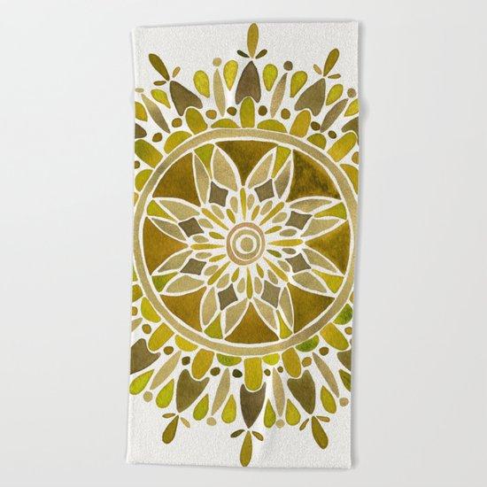 Gold Mandala Beach Towel