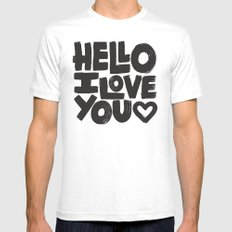 HELLO I LOVE YOU Mens Fitted Tee MEDIUM White