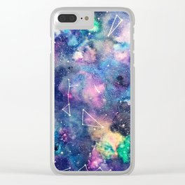 Cosmos Watercolor Clear iPhone Case