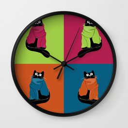 cats in scarves Wall Clock