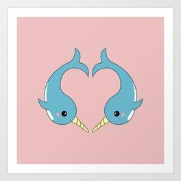 Narwhal heart Art Print