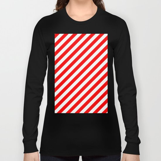 Diagonal Stripes (Red/White) Long Sleeve T-shirt