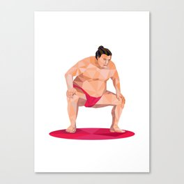 Japanese Sumo Wrestler Squat Low Polygon Canvas Print