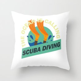 The Ocean Is Calling Scuba Diving Instructor Diver Buddy Throw Pillow