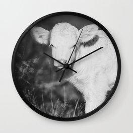 Cute Calf (Black and White) Wall Clock