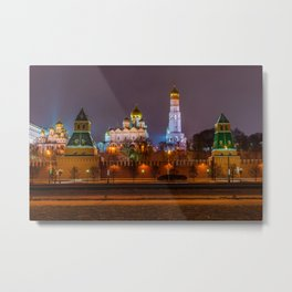 Moscow Kremlin cathedrals at night Metal Print