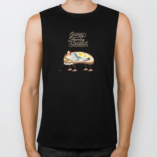 Grumpy Herring Sandwich Biker Tank