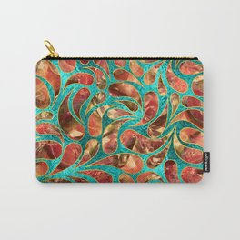 Gold Framed Red Gemstone  Paisley pattern on teal Carry-All Pouch