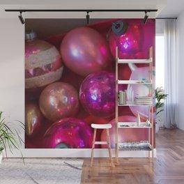 Pink Christmas Wall Mural