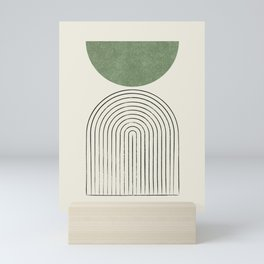 Arch balance green Mini Art Print