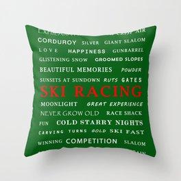 Ski Racing Green Throw Pillow