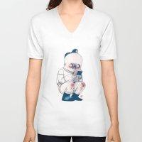 gameboy V-neck T-shirts featuring GAMEBOY BOY by Morbix