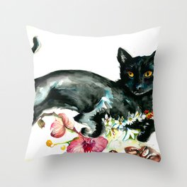 Coffee, Orchid and Black Cat Vintage Style Large Format XXL Throw Pillow