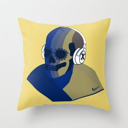 Skeleton music cool  Throw Pillow