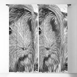 guinea pig couple vector art black white Blackout Curtain