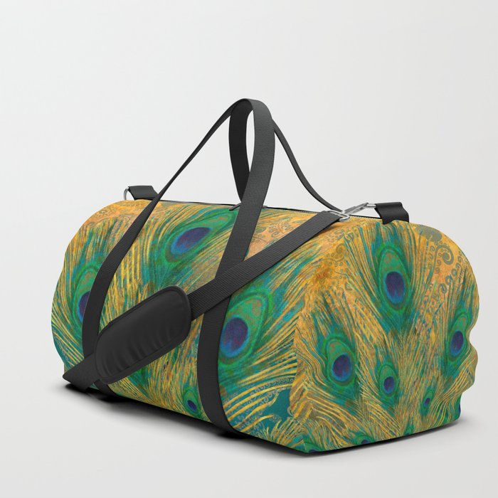 """""""Turquoise and golden peacock"""" Duffle Bag"""