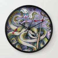 ursula Wall Clocks featuring Ursula by Jena Sinclair