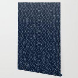 Indigo Tie Dye Hand Drawn Diamond Stripes Wallpaper