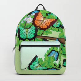 Butterflies on a branch with spring flowers Backpack