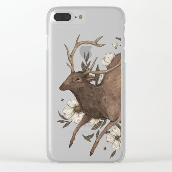Floral Elk Clear iPhone Case