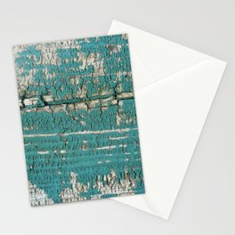 Rustic Wood Turquiose Paint Weathered Stationery Cards