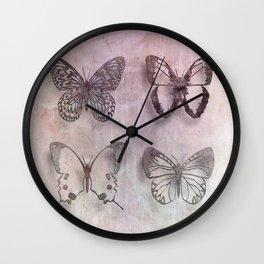 Powder Blush Pink and Lavender Butterflies Wall Clock