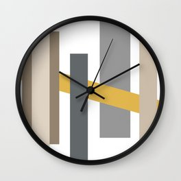 Taupe Geometric Abstract Wall Clock