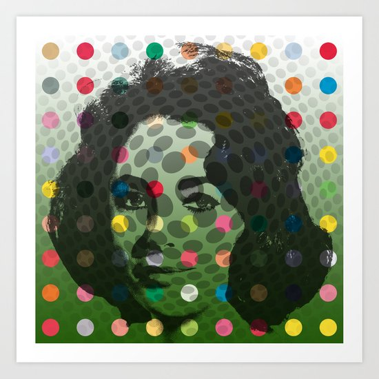 Op Art Liz Taylor With Multi-coloured Dots Art Print