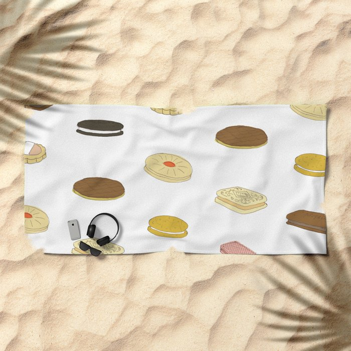 biscui - biscuit pattern Beach Towel