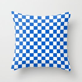 Gingham Brilliant Blue Checked Pattern Throw Pillow