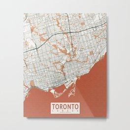 Toronto City Map of Ontario, Canada - Bohemian Metal Print