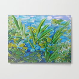 LAKE LOVE - Beautiful Relaxing Turquoise Blue Green Seaweed Chic Decor Gift for Him Acrylic Painting Metal Print