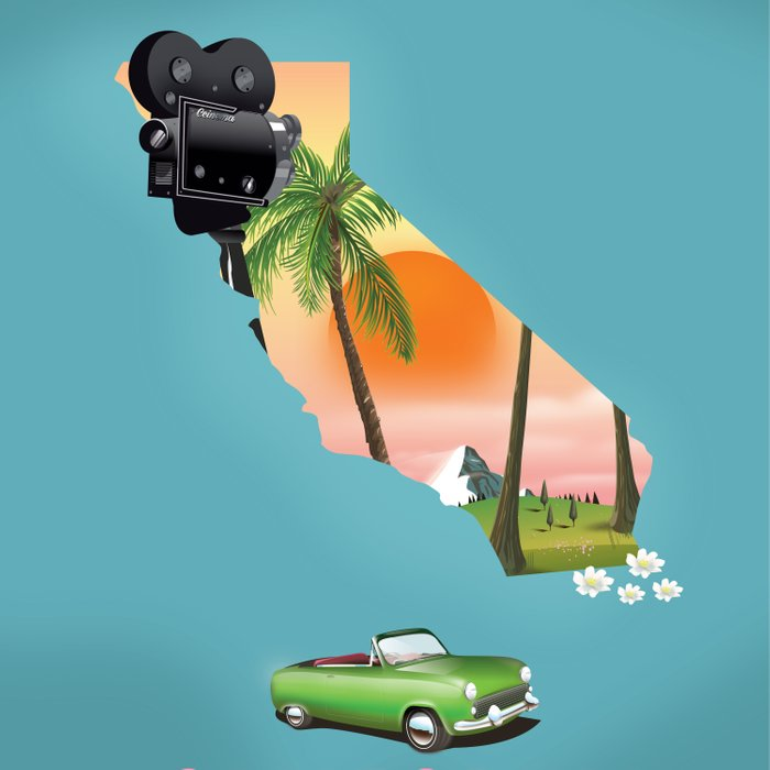 California Illustrated map poster. Comforters