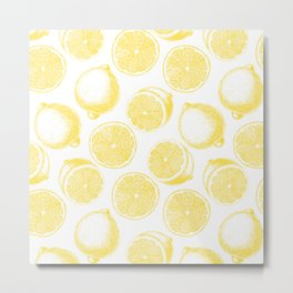 Hand drawn lemon pattern Metal Print