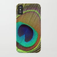 peacock feather iPhone & iPod Cases featuring Peacock Feather by Kim Bajorek