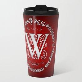Joshua 24:15 - (Silver on Red) Monogram W Travel Mug