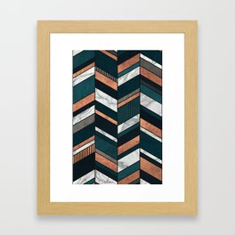 Abstract Chevron Pattern - Copper, Marble, and Blue Concrete Framed Art Print