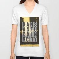 kansas city V-neck T-shirts featuring Kansas Fucking City by black lab studio
